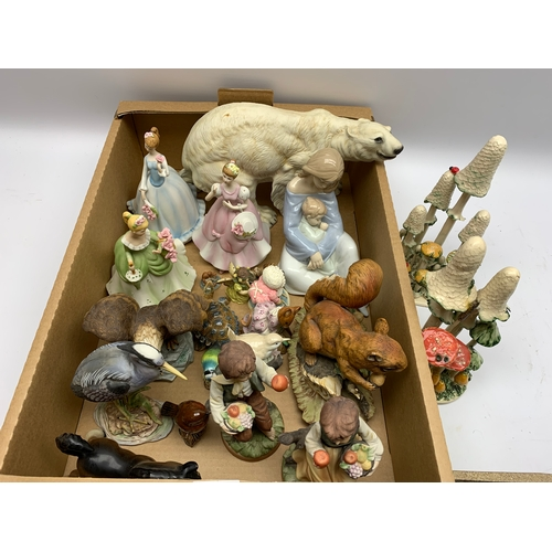 553 - Group of assorted figures, to include Beswick, Wade, Nao, The Chancery Collection, etc., in one box