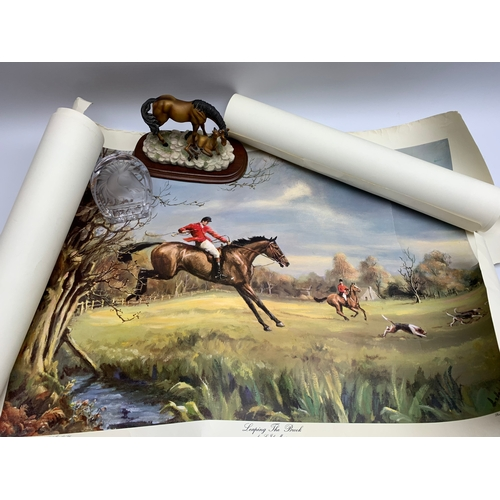 579 - Group of equestrian related items, including various loose prints, ash tray, and Leonardo Collection...