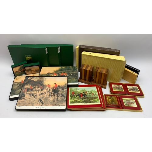 580 - Various place mats, including some depicting hunting scenes, etc., in one box