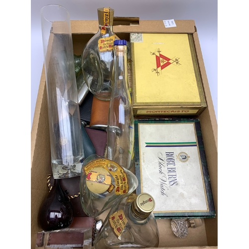 582 - Various glass bottles, cigars, paperweight, and other miscellaneous items, in one box