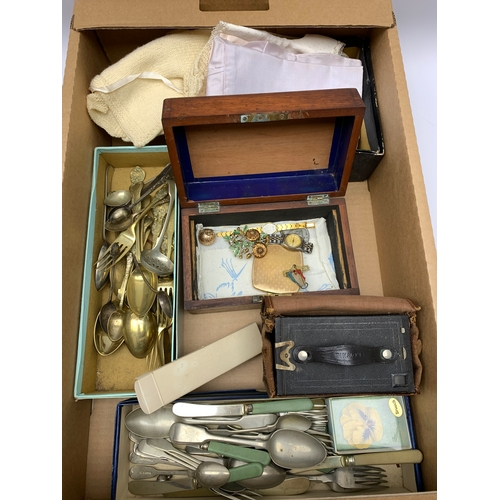 587 - Various items of flatware, small wooden box, 'Brownie' box camera etc, in one box
