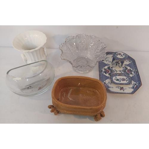 59 - Blue Trinket Dish, Blue Trinket Box, Glass Bowl,Etc