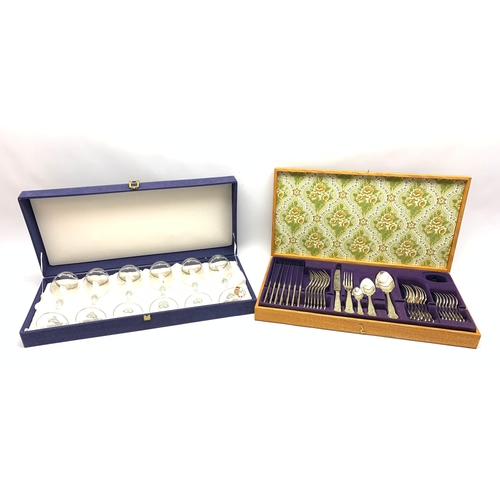596 - Viners canteen of cutlery, and a boxed set of six drinking glasses