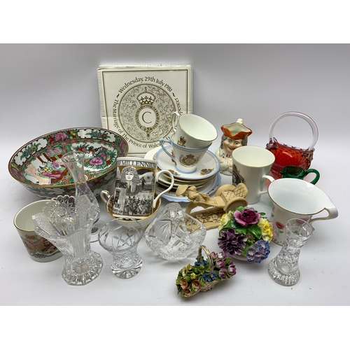 597 - Ceramics and glass including Cantonese bowl, commemorative mugs, small glass vase etc, in one box
