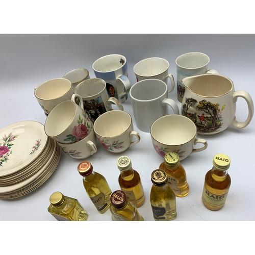 601 - Various alcohol miniatures, various mugs etc, in one box