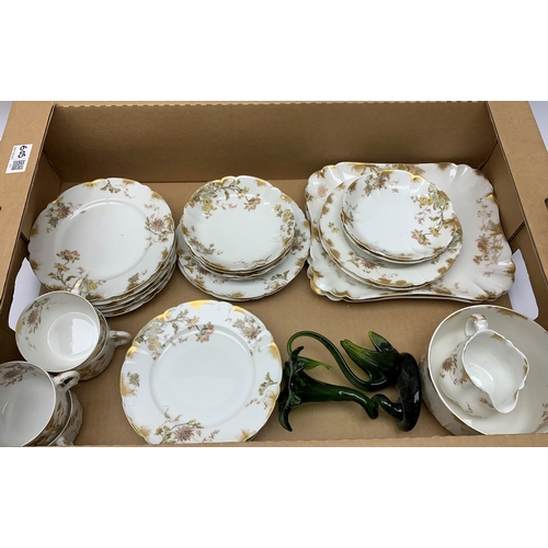 605 - 2 continental tea sets together with 4 cabinet plates printed with game birds etc in 2 boxes