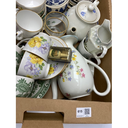615 - Large collection of ceramic plates and cups, fine bone china