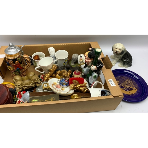 619 - Various pot figurines, plates and commemorative items