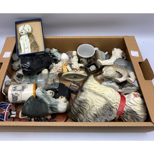 624 - Various ceramics of dogs as well as dog jigsaw, collectables, models and mugs