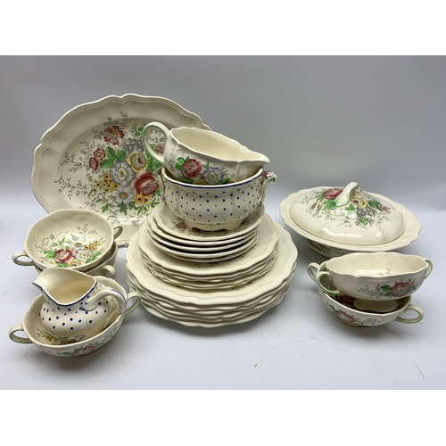 628 - Royal Doulton Malvern pattern dinner wares, plus two pieces of Copeland Spode Polka Dot pattern