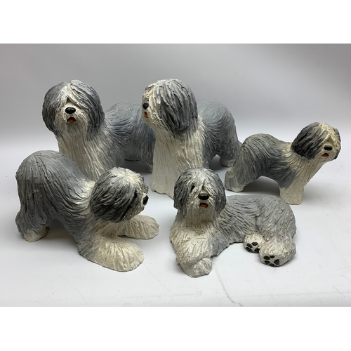 638 - Five ceramic Old English Sheepdog models, marked GIA, in one box