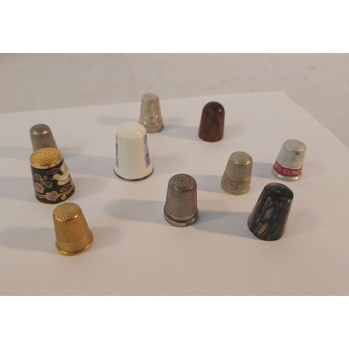 66 - 10 Collectors Thimbles including 3 Silver and a CWJ Congress Soap Advertising