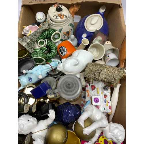 665 - Various ceramics including figures, teapot, mugs etc, in one box
