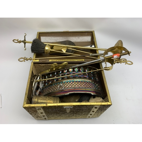 672 - Brassed dome top box, with selection of fire accessories, etc.