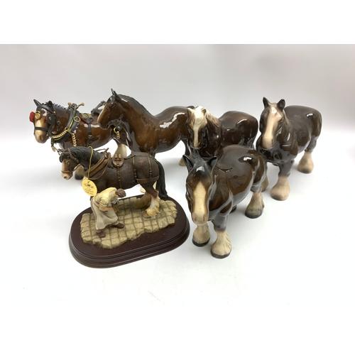 689 - Ceramic models of horses, in one box