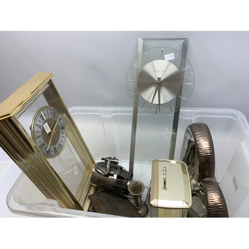 700 - Whitehall quartz clock, various other clocks, and ornamental items, in one box