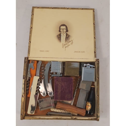 71 - Cigar Box with Lighters Etc,