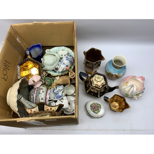 687 - Various ceramics, to include planter modelled as a swan, Imari pallet tea wares, etc., in one box