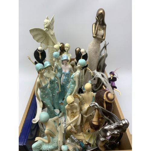 709 - Contemporary figures of ladies and various other decorative items, in one box