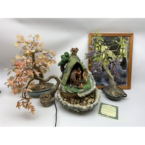 36 - Three faux bonsai type trees, decorative mirror with certificate, and water feature