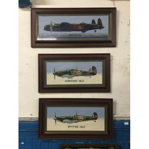 25 - 3 framed embroidered aeroplane pictures...
