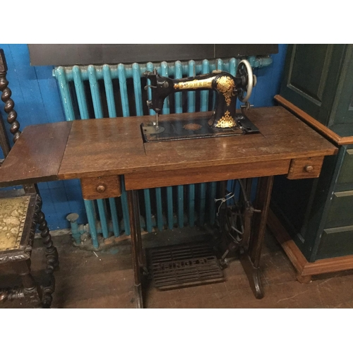 6 - Singer treadle sewing machine table...