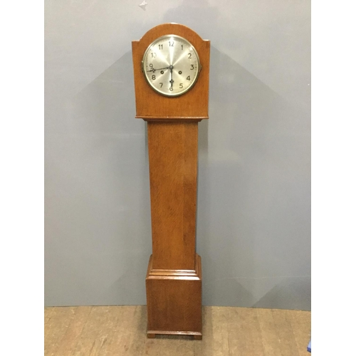 18 - light mahogany grandmother clock...