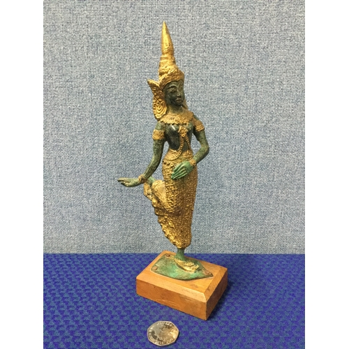 11 - Bronze Thai Buddha figure with gilt detailing...