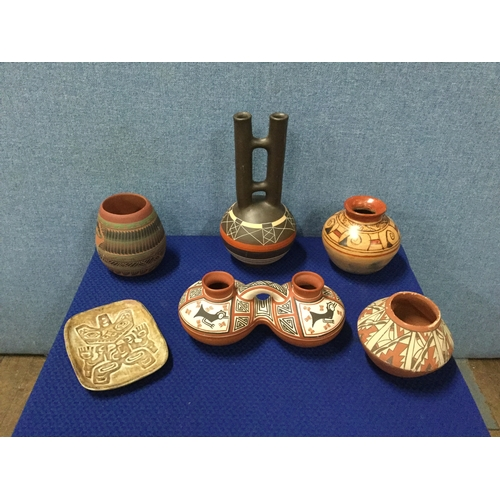 28 - Selection of Native American pottery to include Navajo...