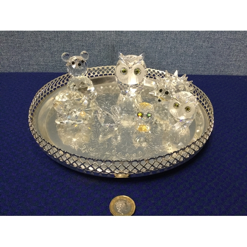 5 - Selection of Swarovski crystal animals on plated tray...