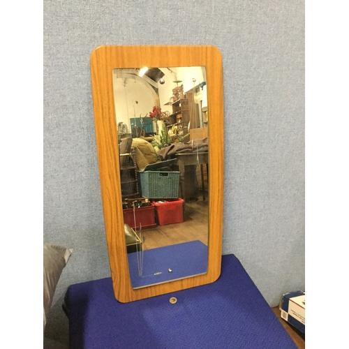 10 - Vintage teak, etched wall mirror...