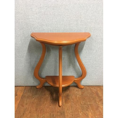 36 - Wooden half moon table...