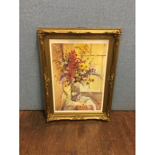 41 - Gilt framed floral picture...