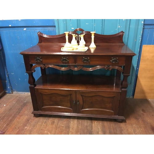 37 - mahogany 2 door cabinet with art nouveau handles...