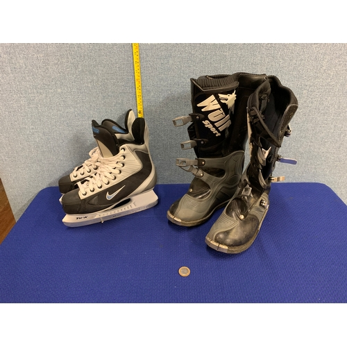 30 - Wulfsport Motorcross boots 9.5 and Nike ice skates 8.5...