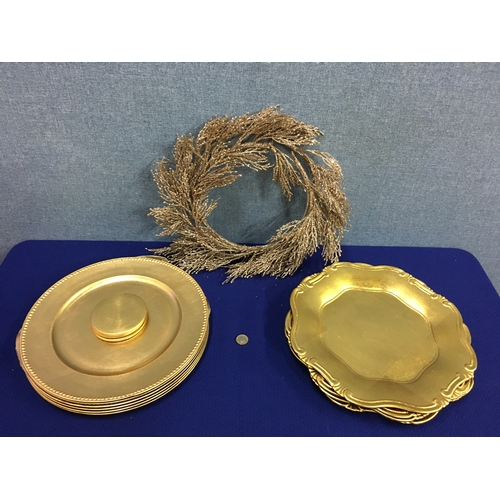 44 - Selection of gold charger plates and wreath....