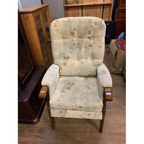 36 - Upholstered wooden frame high back chair....