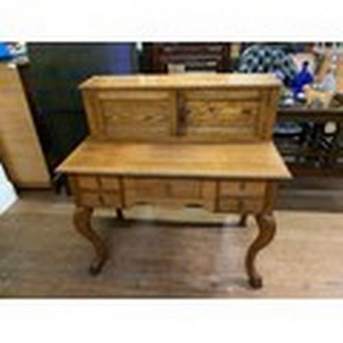 49 - oak desk with cabriolet legs & added oak top...