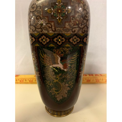 19 - Set of 3 vintage cloisonne vases depicting the phoenix. See pics. 23 and 19cm tall....