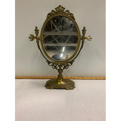 35 - Vintage, brass, ornate dressing table mirror....