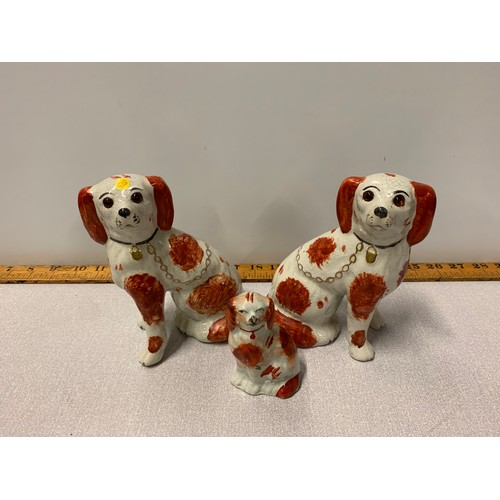 4 - Pair of Wally dogs with glass eyes along with one smaller one....