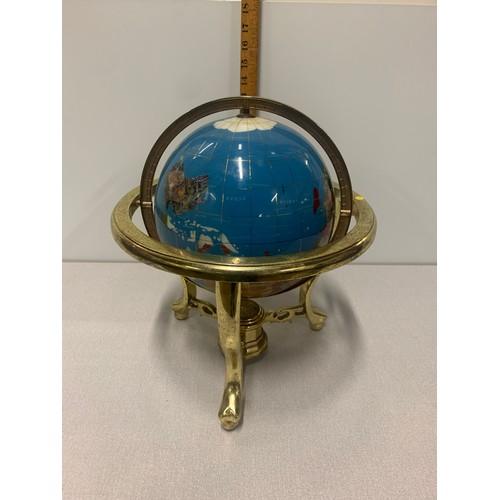 7 - World globe with semi precious stones....