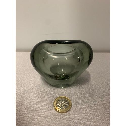 27 - Vintage Holmegaard Denmark glass heart vase Lutken design Singed to base and dated 1961...