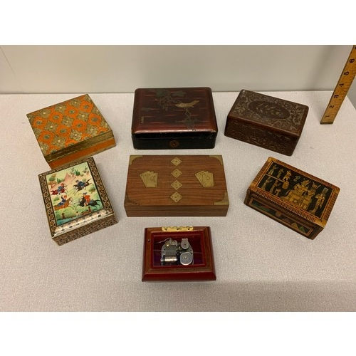 51 - 7 Inlaid wooden boxes to include musical....