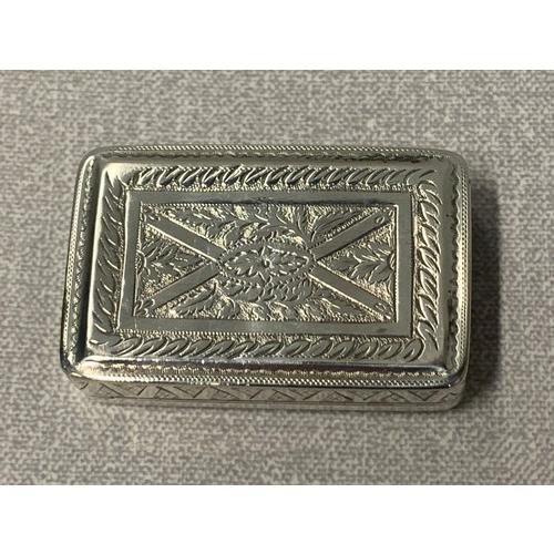 125 - Victorian silver snuff box with gilded interior....