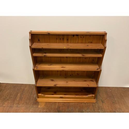 218 - Solid pine shelving unit....