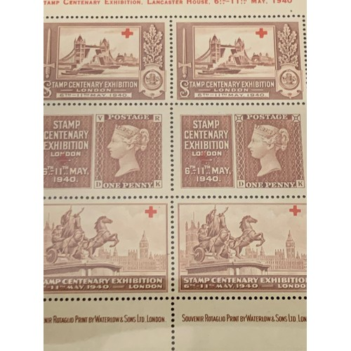 241 - 5 x stamp centenary exhibition 1940 London set of 5 mini red cross charity sheets....