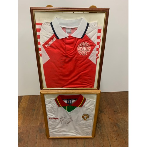 543 - Framed signed football shirts 1 signed by george cadet on portugal shirt + dansk top unrecognized si...