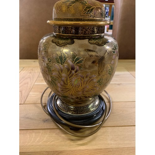 18 - Pair of Oriental look Rochamp table lamps. 67cm tall with shade.