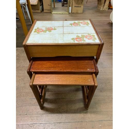 35 - Mid century gplan tile top, teak nest of 3 tables.
